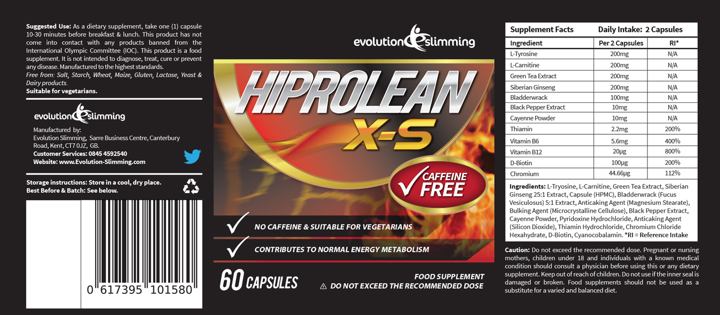 hiprolean caffeine free fat burner label