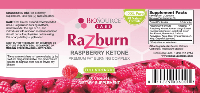 razburn label supplement facts ingredients