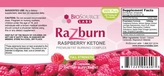 razburn label supplement facts ingredients