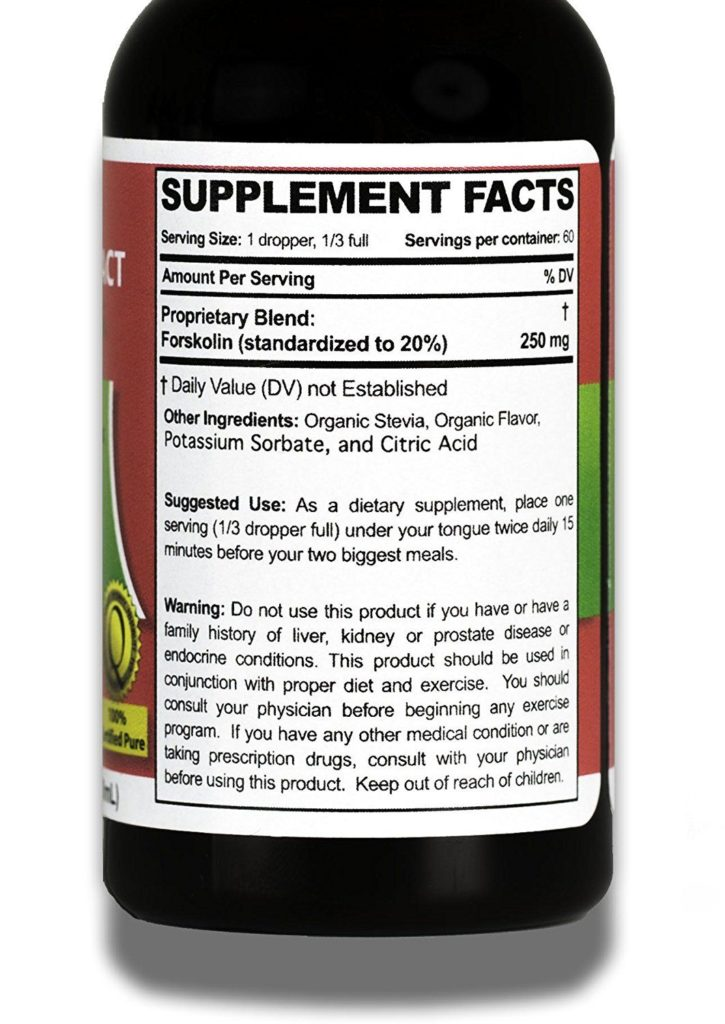 forskolin ultra supplement facts