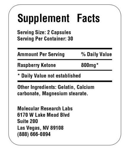 Raspberry Ketones Pure ingredients