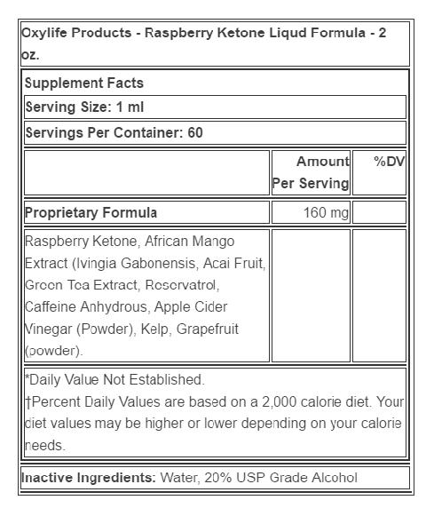oxylife raspberry ketone liquid formula 2 oz ingredients