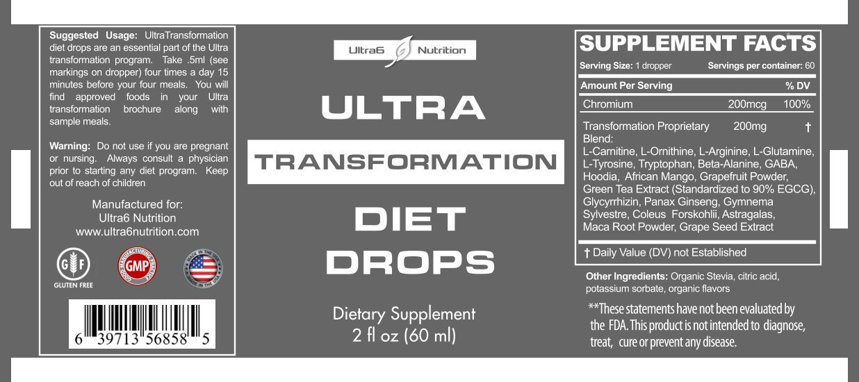 transformation diet drops supplement facts